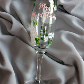 White Floral and Blush Name Floral Flute