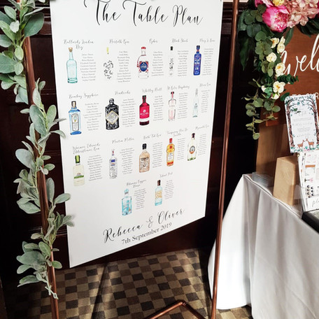 Gin Table Plan & Copper Frame Hire