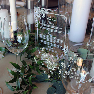Acrylic Menus with in house designed foliage border