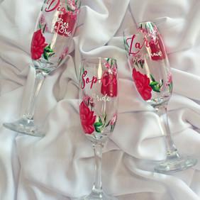 Hot Pink Floral Flutes