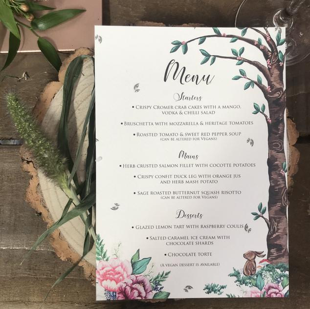 Table Menu - Woodland