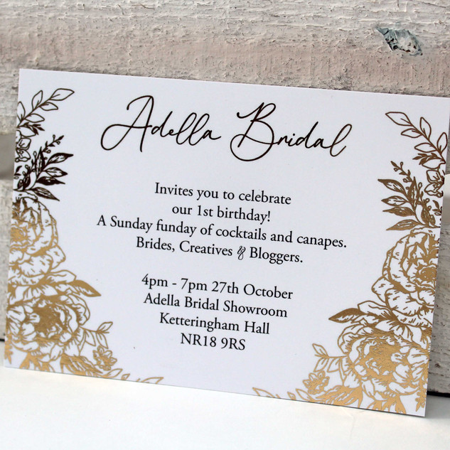 Gold Floral Invitation/Save the Date