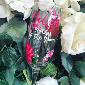 Hot Pink Floral Flute