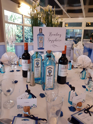 Gin Bottle Centre Pieces and Names