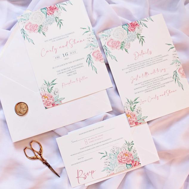 Dusty Pink & Blue Pastel Floral Invitation Suite