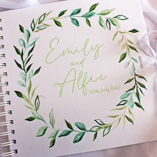 Eucalyptus Guest Book Sage Green Text