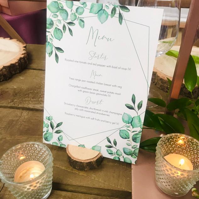 Eucalyptus Table Menu