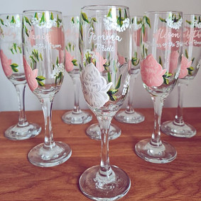 Blush and White Floral Flutes