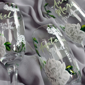 White Floral with Sage Name Floral Flute