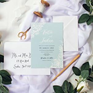 Pearlised Linear Floral Invitation