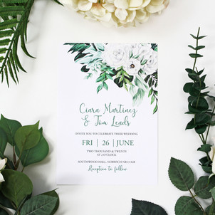 White Rose Foliage Invitation