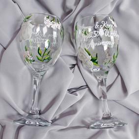 Floral Anniversary Wine Glasses