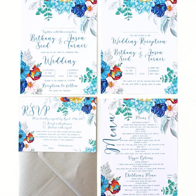 Rainbow Floral Invitations