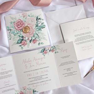 Mauve Roses Invitation GATEFOLD STYLE