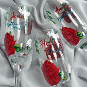 Red Navy Floral Flutes