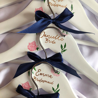 Blush and Navy Floral Hangers