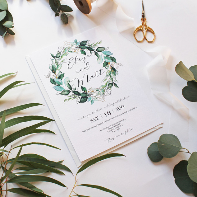 Foliage Crest White Invitation