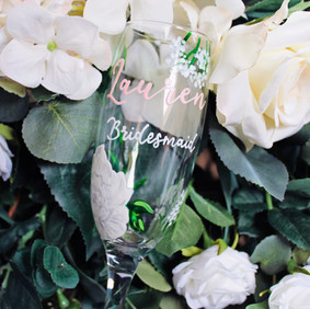 White Floral with Blush Name Floral Flutes