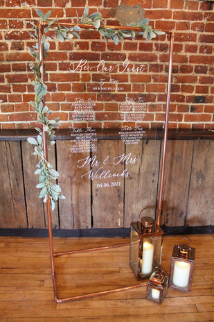 Acrylic Copper Table Plan Hire