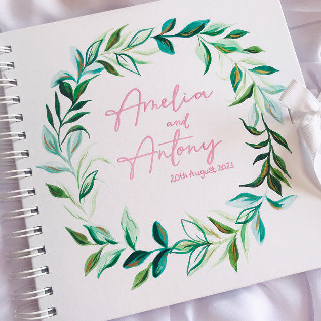Hand Painted Eucalyptus Guest Book