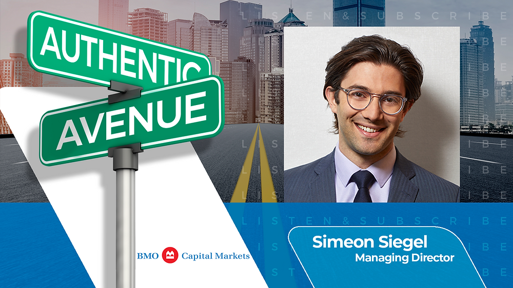 This is the cover for the Authentic Avenue podcast episode with Simeon Siegel, Managing Director at BMO Capital Markets, and host Adam Conner.