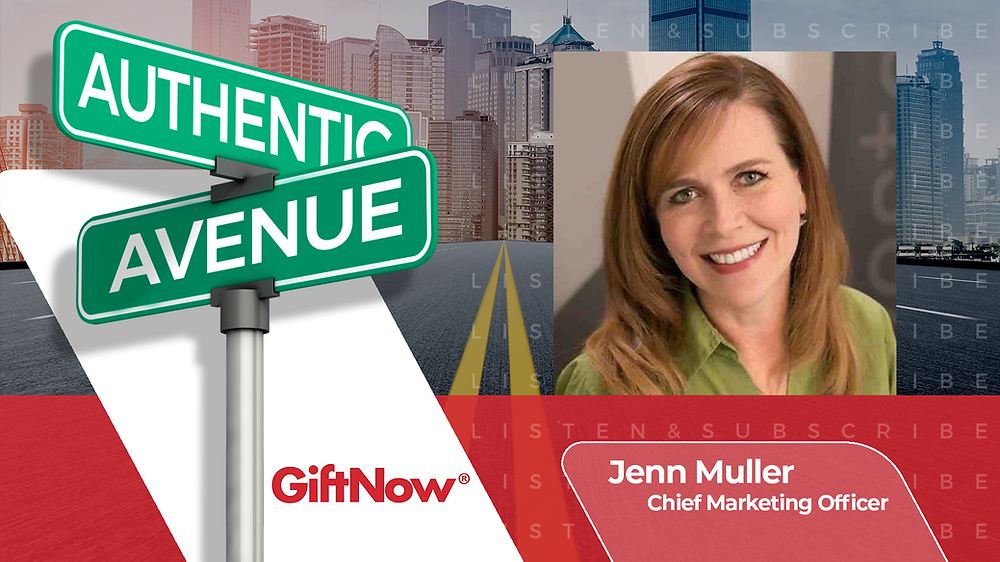 This is the cover for the Authentic Avenue podcast episode featuring Jenn Muller, Chief Marketing Officer of Loop Commerce (GiftNow), and host Adam Conner.
