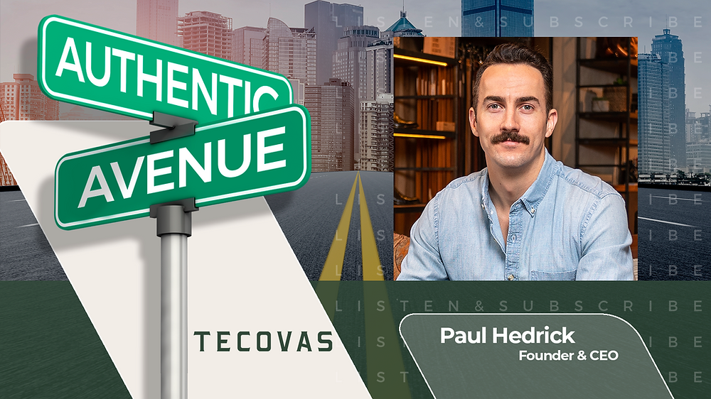 This is the cover for the Authentic Avenue podcast episode featuring Paul Hedrick, Founder & CEO of Tecovas, and host Adam Conner.