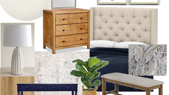 Navy and Wood Master Bedroom Makeover