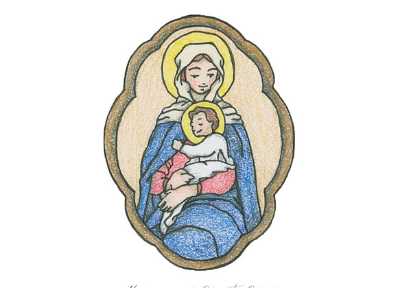 Madonna and Child 5x7 Print, Matted to 8x10