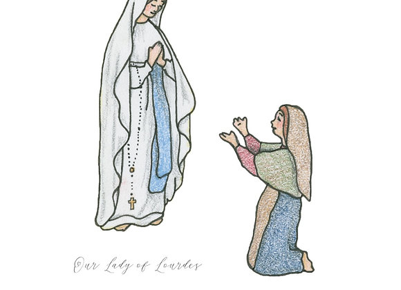 Our Lady of Lourdes with St. Bernadette 5x7 Print, Matted to 8x10
