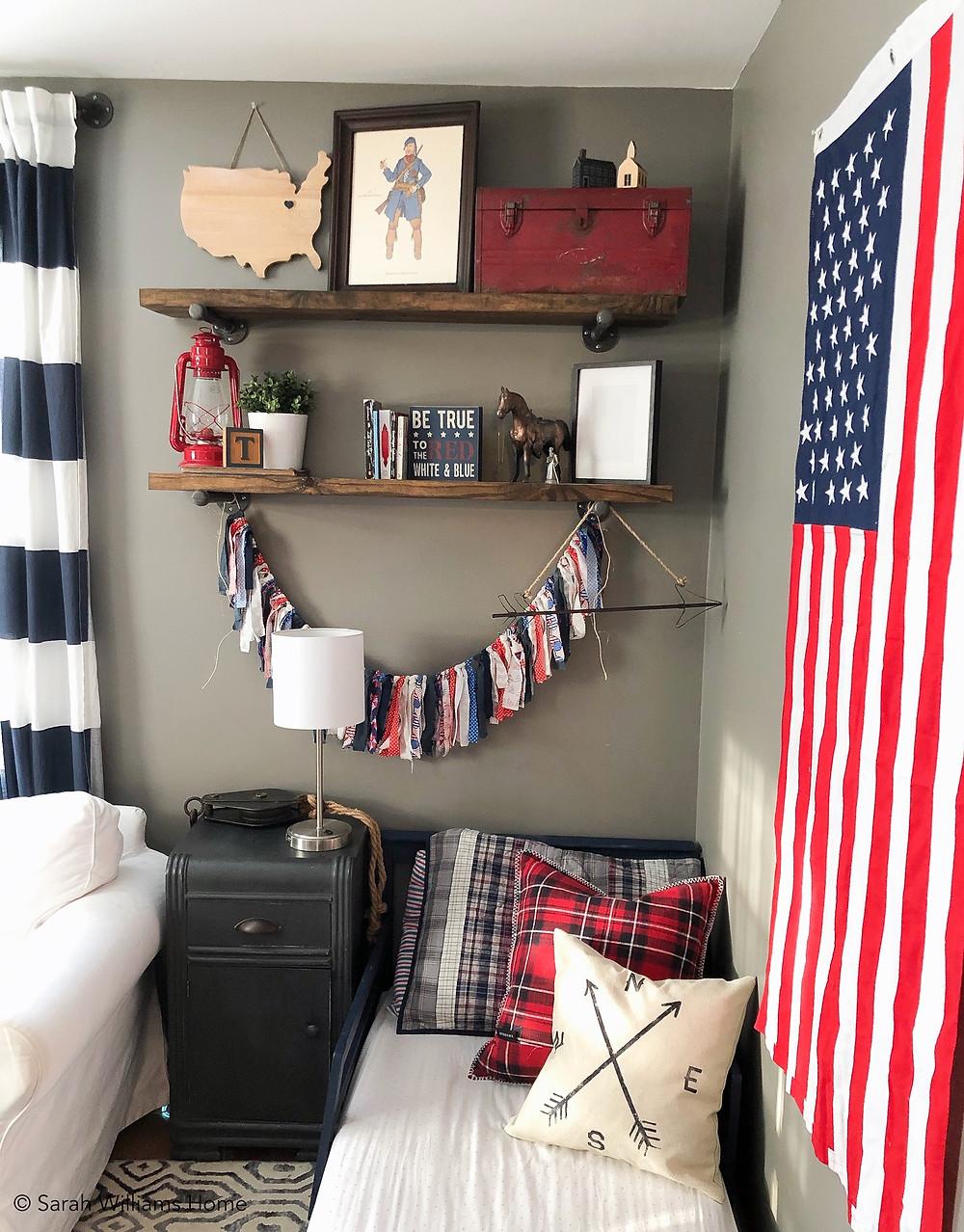 Americana decor in boys room