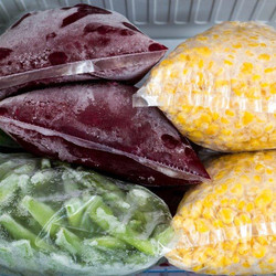 Frozen cleaned vegetables