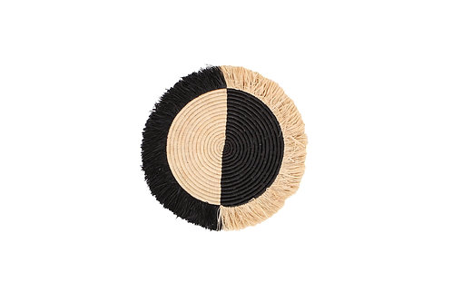 "14"" Small Black Half Moon Fringed Wall Disc"