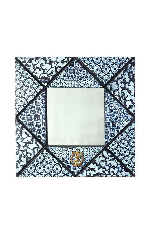 Gye Nyame Wax Cloth Mirror