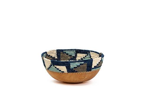 "8"" Medium Silver Blue Mosaic Wooden Bowl"