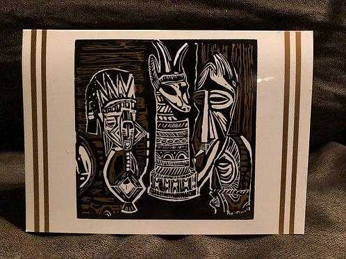 African Sculpture Blank Card