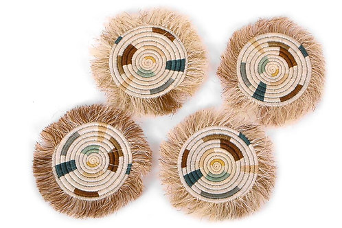 Soothing Sands Fringed Coasters, Set of 4