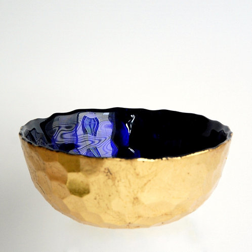 """Bee Hive 6"""" Sapphire/Gold Bowl"""