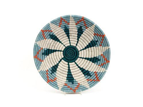Large Dusk Blue + Melon Hope  Round Basket