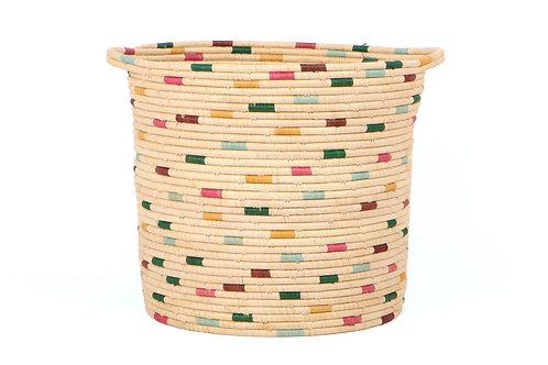Vivid Dashed Raffia Floor Storage Basket