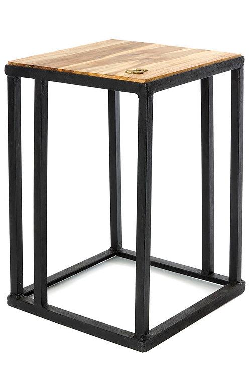 Ghanaian Teak and Metal Accent Table w/ Brass Sankofa Symbol