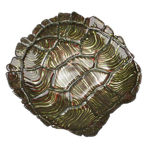 "Turtle Shell 19"" Green Gold Bowl"