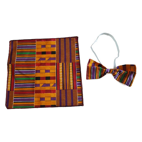 Men's Kente Bow Tie and Hankerchief Set