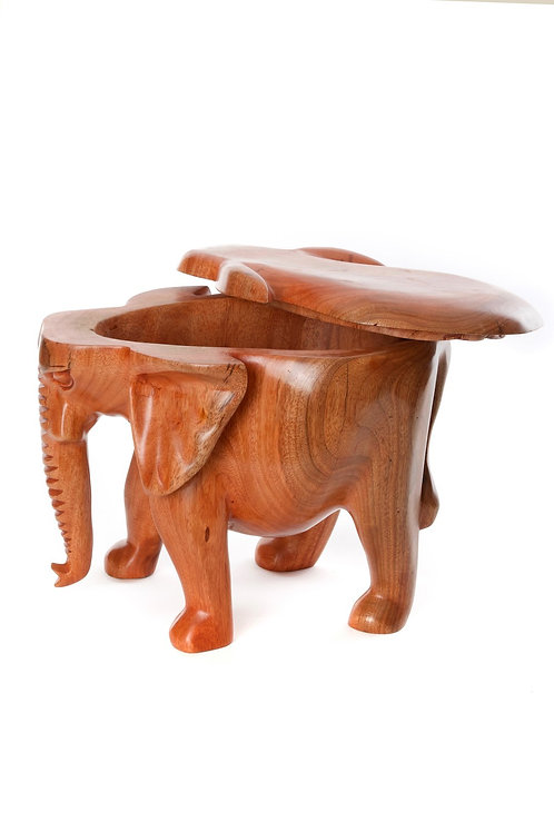 Hand Carved Mahogany Lidded Elephant Bowl