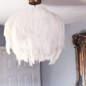 It's a DIY Feather Light Fixture, Honey!