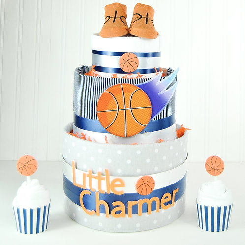 Little Charmer Basketball Diaper Cake with 2 cupcakes