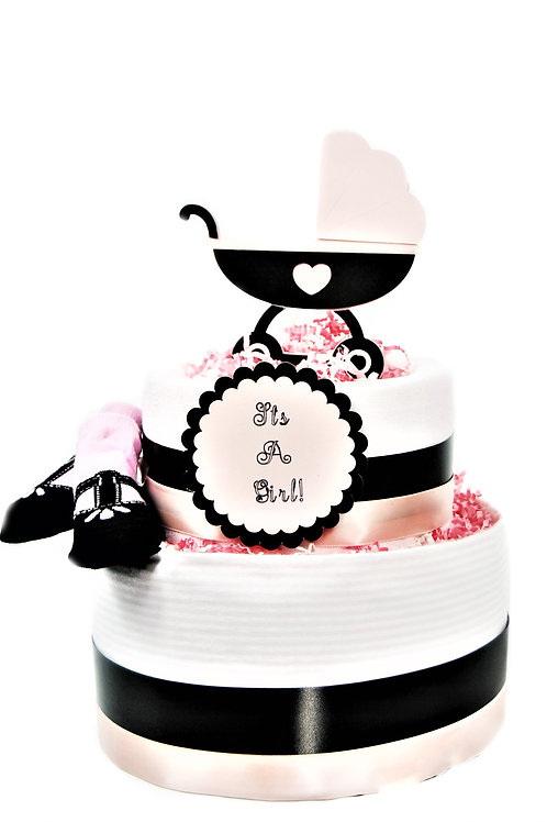 Baby Carriage- Baby Girl Diaper Cake