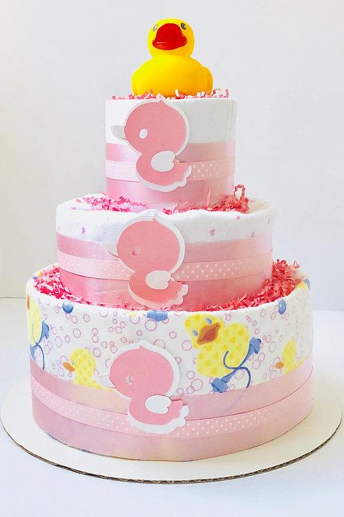 Pink Ducky - Baby Girl Diaper Cake