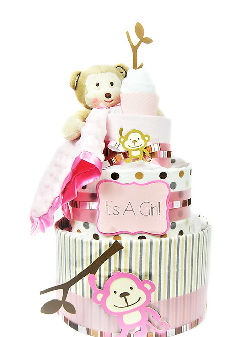 Baby Monkey - Baby Girl Diaper Cake