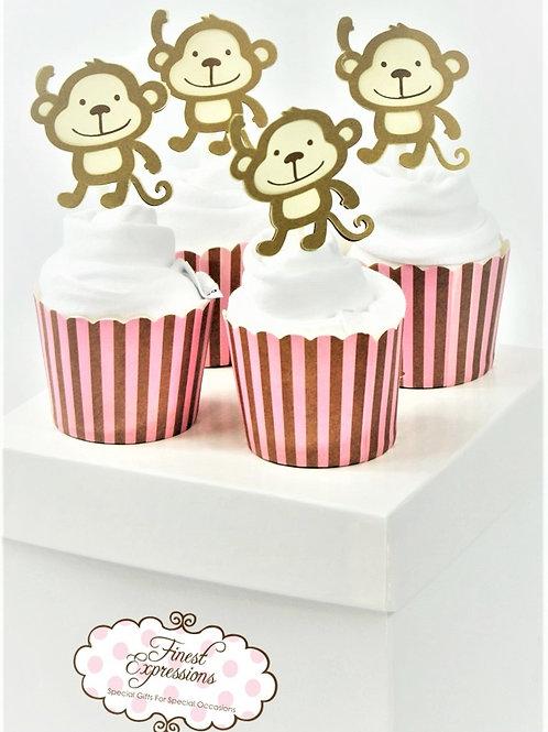 Baby Monkey - Baby Onesie Cupcakes